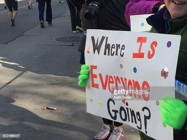 A HandMade Sign Held by a Local Resident along Lafayette Avenue in the Clinton Hill Neighborhood of Brooklyn Asks 'Where is Everyone Going' as part...
