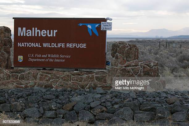 A handmade sign requesting militia go home is posted at the Malheur National Wildlife Refuge January 28 2016 near Burns Oregon On January 26 eight...