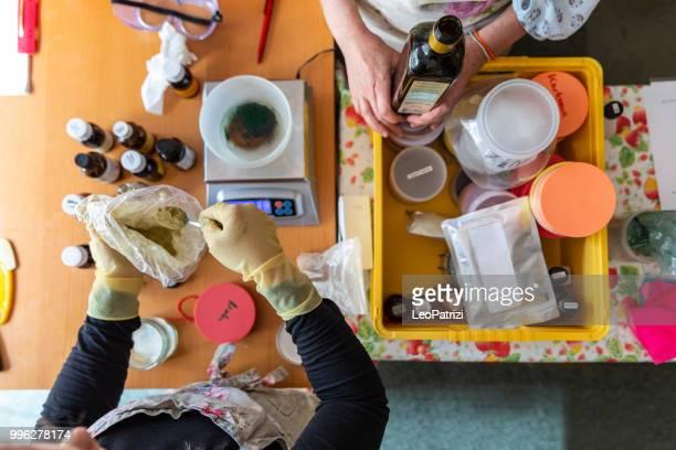 Handmade soap making workshop in a studio