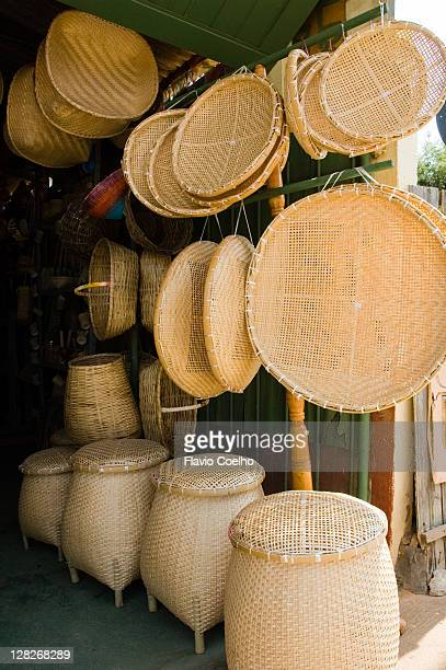 handmade straw basket store - maranhao state stock pictures, royalty-free photos & images