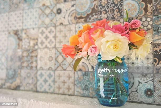 Handmade tiles and fresh roses