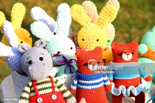 handmade toys knitted, set of different animals - embroidery stock pictures, royalty-free photos & images