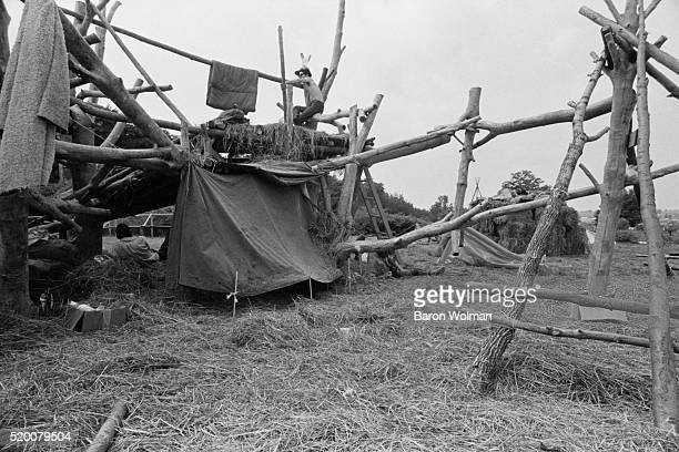 Handmade wooden tents at the Woodstock Music Art Fair Bethel NY August 15 1969