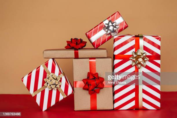 handmade wrapping concept. front view. - gifts stock pictures, royalty-free photos & images
