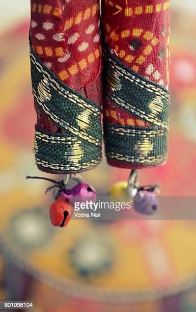 handmade,ethnic,wooden, bandhani garba dandiya sticks - traditional dancing stock pictures, royalty-free photos & images