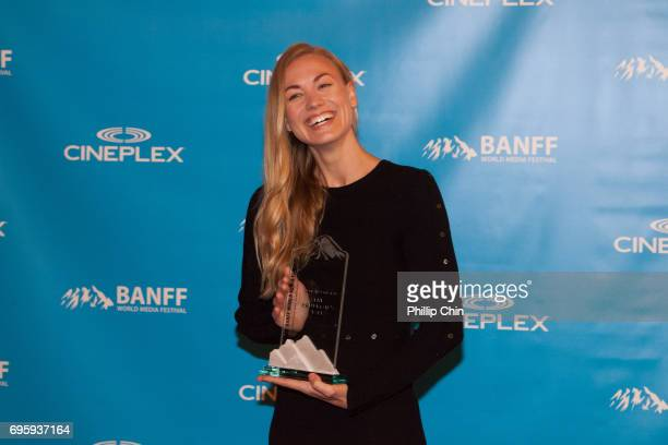 'A Handmaid's Tale' Actor Yvonne Strahavski receives the Program of the Year Award at the Rockie Awards Gala Cermemony during the 2017 Banff Media...