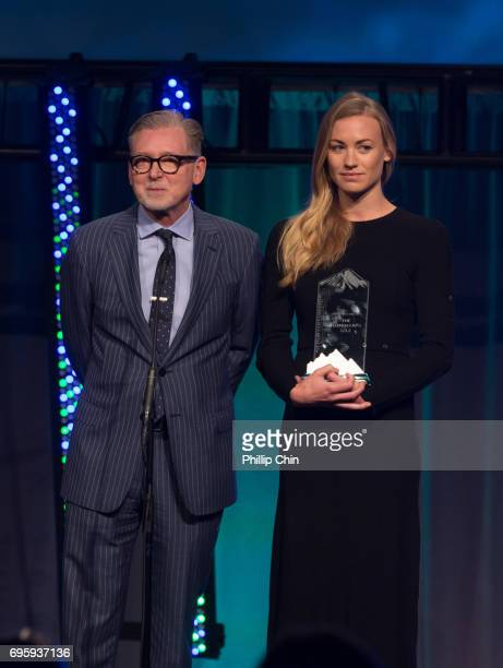 'A Handmaid's Tale' Executive Producer Warren Littlefield and Actor Yvonne Strahavski receive the Program of the Year Award at the Rockie Awards Gala...