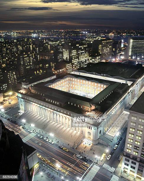 PHOTO A handout artist rendering shows the Moynihan Train Station planned for Manhattan's West Side in New York City Mayor Michael Bloomberg and Gov...