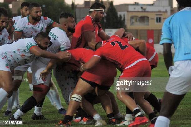 Handout image provided by the APO Group of the Rugby World Cup qualifier and Rugby Africa World Cup match between Tunisia v Morocco at Stade Mustapha...