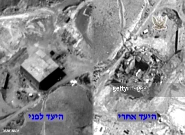 A handout image provided by the Israeli army on March 20 2018 reportedly shows a before and after aerial view of a suspected Syrian nuclear reactor...