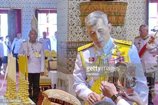 A handout photo from the Public Relations Department for the Coronation of King Rama X showing Thai King Maha Vajiralongkorn during a ceremony before...