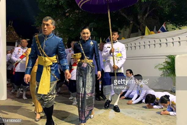 Handout photo from the Public Relations for the Coronation of King Rama X showing Thai King Maha Vajiralongkorn and his wife, Suthida Vajiralongkorn...