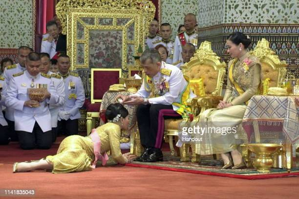 Handout photo from the Public Relations for the Coronation of King Rama X showing Thai King Maha Vajiralongkorn during the coronation ceremony at the...