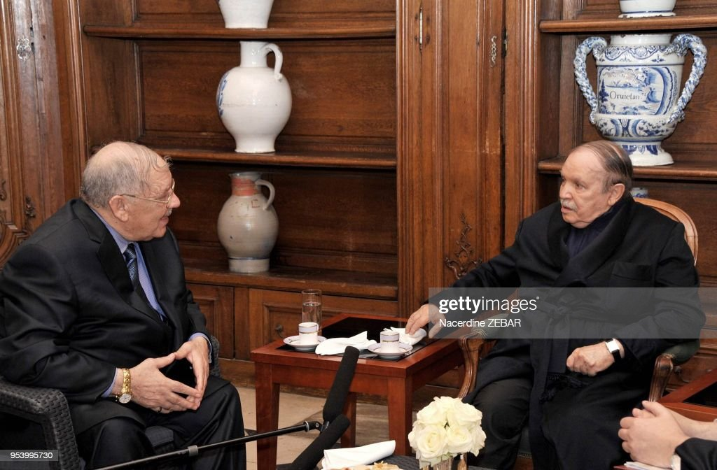 Algeria's President Abdelaziz Bouteflika Receiving Algerian Chief of Staff Ahmed Gaid Salah and Algeria's Prime Minister Abdelmalek Sellal : News Photo