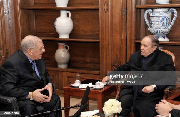 Handout photo shows Algeria's President Abdelaziz Bouteflika receiving Algerian Chief of Staff Ahmed Gaid Salah and Algeria's Prime Minister...
