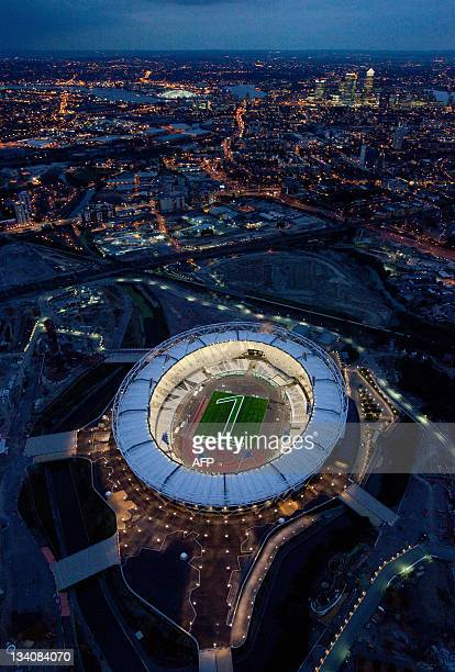 Handout picture obtained from the London 2012 organising committee in London, on July 26, 2011 shows an aerial view of the London 2012 Olympic...