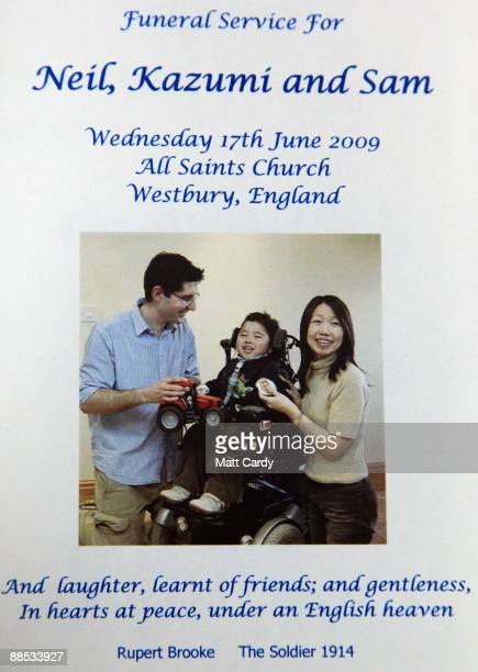 A handout picture of Neil and Kazumi Puttick and their son fiveyearold Samuel Puttick is displayed on the front of a order of service at All Saints...