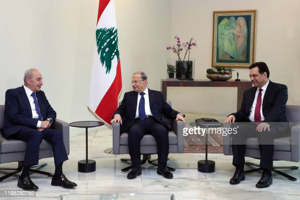 Handout picture provided by the Lebanese photo agency Dalati and Nohra on on January 22, 2020 shows Lebanon's Parliament Speaker Nabih Berri and...