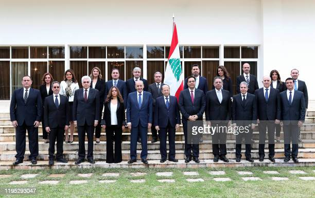 Handout picture provided by the Lebanese photo agency Dalati and Nohra shows Lebanon's Parliament Speaker Nabih Berri and President Michel Aoun and...