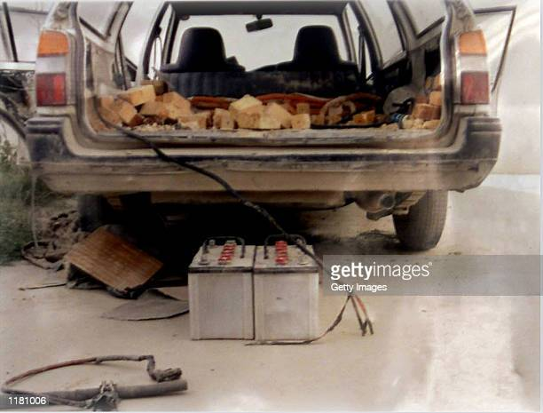 A handout picture released by Afghan intelligence officials shows a car and explosives apprehended by Afghan intelligence officials July 30 2002 in...