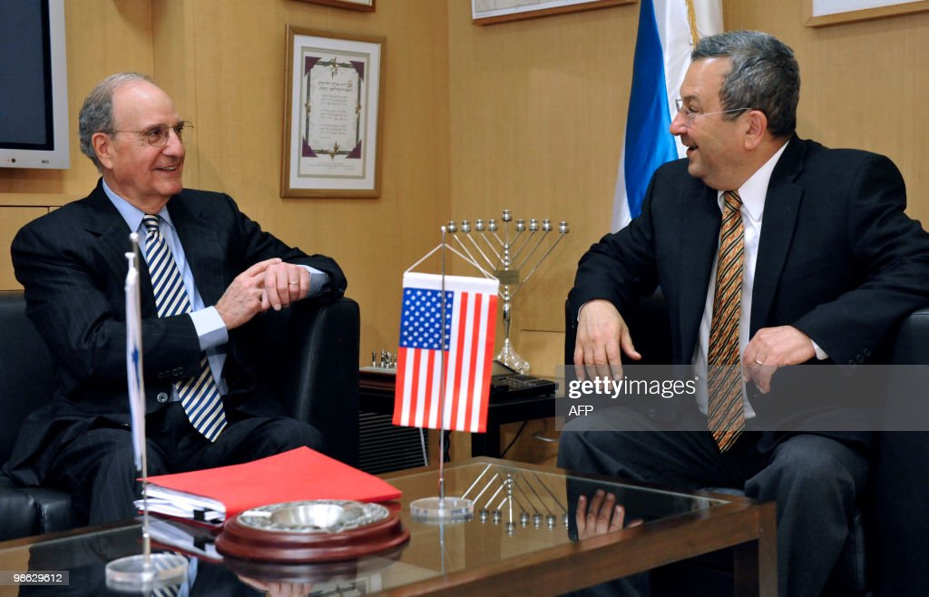 A handout picture released by Israel's Defence Ministry shows Israeli Defence Minister Ehud Barak (R) meeting with US President Barack Obama's Middle East envoy George Mitchell in Tel Aviv on April 23, 2010. Mitchell met Barak kicking off a day of talks with senior Middle East officials aimed at restarting peace negotiations.