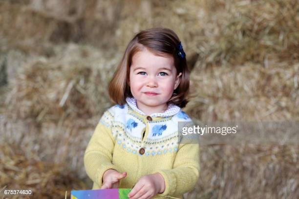 TOPSHOT A handout picture released by Kensington Palace and Britain's Duke and Duchess of Cambridge on May 1 2017 and taken by the Duchess shows...