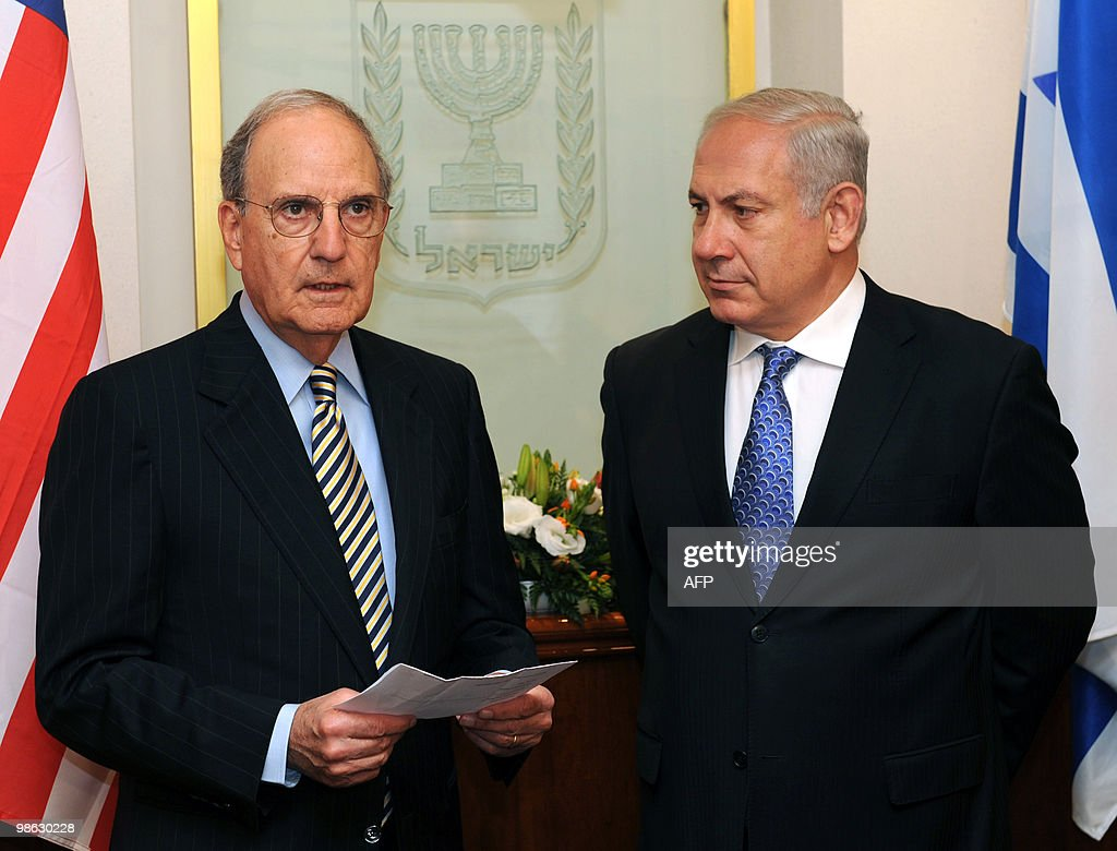 A handout picture released by the Israeli Government Press Office shows Israeli Prime Minister Benjamin Netanyahu (R) meeting US President Barack Obama's Middle East envoy George Mitchell in Jerusalem on April 23, 2010. Mitchell kicked off a day of talks with senior Middle East officials aimed at restarting peace negotiations.