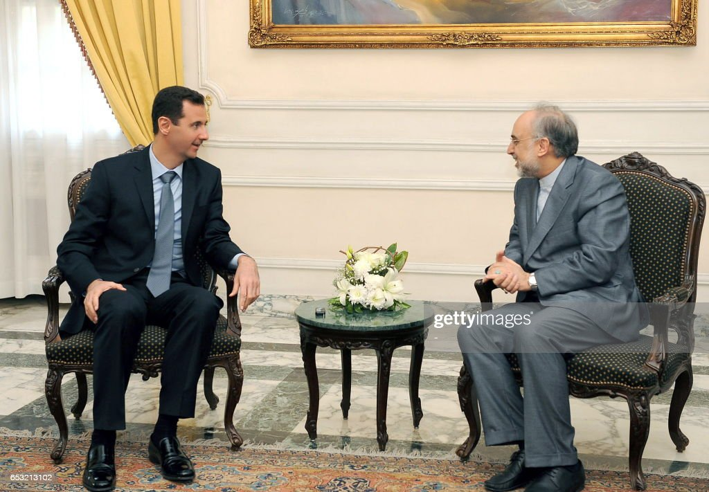CREDIT 'AFP PHOTO / SANA' - NO MARKETING NO ADVERTISING CAMPAIGNS - DISTRIBUTED AS A SERVICE TO CLIENTS-- A handout picture released by the Syrian Arab News Agency (SANA) shows Syria's President Bashar al-Assad (L) during a meeting with Iran's acting foreign minister Ali Akbar Salehi in Aleppo, 360kms north of Damascus, on January 24, 2011 .