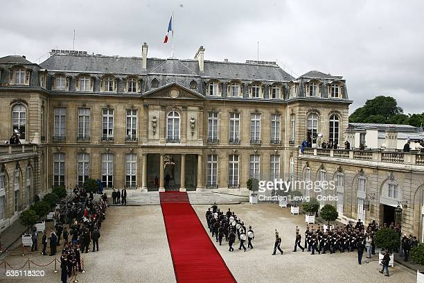 Handover ceremony at the Elysee Palace, as former French President Jacques Chirac passes on power to his successor, Nicolas Sarkozy.