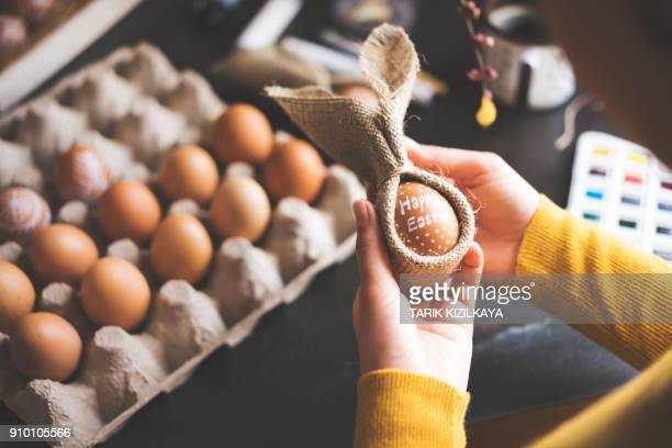 diy handpainted easter eggs - happy easter text stock pictures, royalty-free photos & images