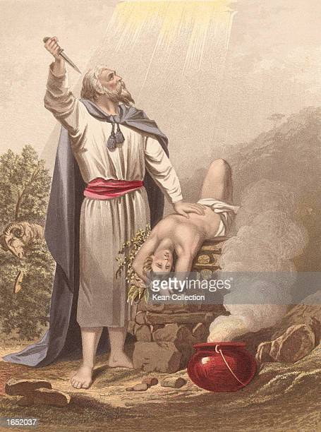 Handpainted engraving of Abraham offering Isaac c 1880