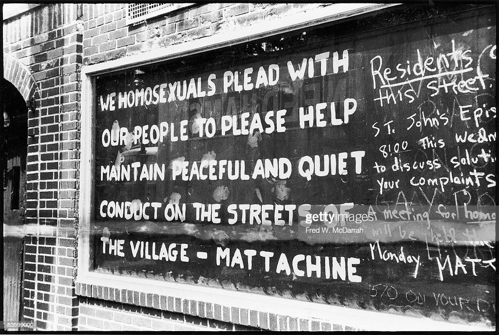 Graffiti On Boarded-Up Stonewall Inn Window : News Photo