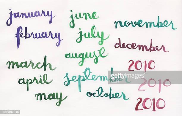 Handpainted aguarela meses
