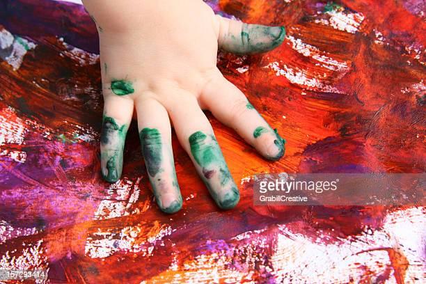 Handprint Art: Preschooler Finger painting