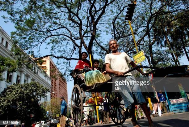 Handpulled Rickshaw photographed on March 10 2010 in Kolkata India