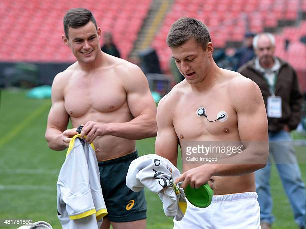 Handre Pollard and Jesse Kriel during the South Africa Springboks Captains Run at Emirates Airline Park on July 24 2015 in Johannesburg South Africa