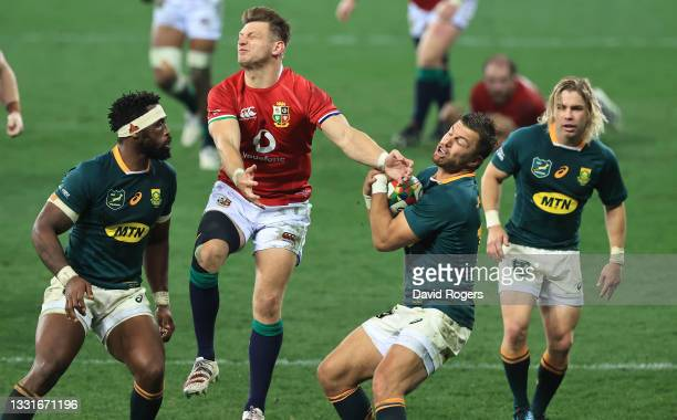 Handre Pollard of South Africa catches the ball as Dan Biggar Challenges during the 2nd test match between South Africa Springboks and the British &...