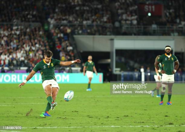Handre Pollard of South Africa converts his team's second penalty during the Rugby World Cup 2019 Final between England and South Africa at...