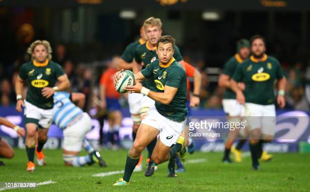 Handre Pollard of South Africa during the Rugby Championship match between South Africa and Argentina at Jonsson Kings Park on August 18 2018 in...