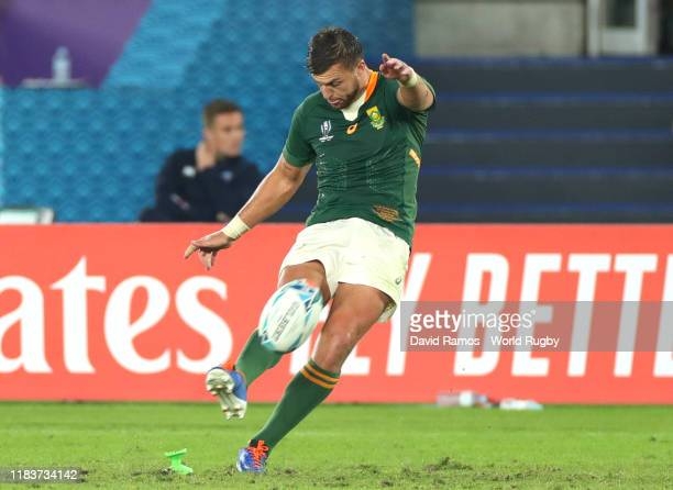 Handre Pollard of South Africa kicks his team's fourth penalty during the Rugby World Cup 2019 Semi-Final match between Wales and South Africa at...