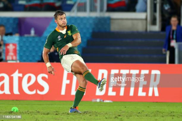 Handre Pollard of South Africa kicks his team's fourth penalty during the Rugby World Cup 2019 SemiFinal match between Wales and South Africa at...