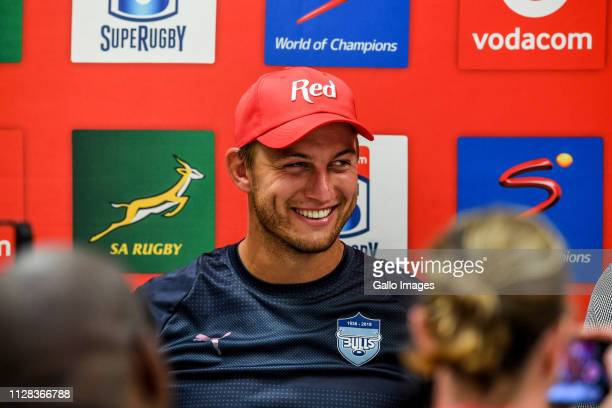 Handre Pollard of the Bulls during the Super Rugby match between Emirates Lions and Vodacom Bulls at Emirates Airline Park on March 02 2019 in...