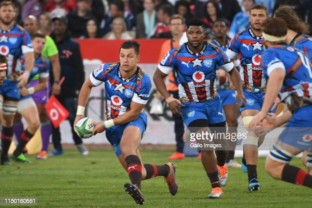 Handre Pollard of the Bulls in action during the Super Rugby match between Vodacom Bulls and Emirates Lions at Loftus Versfeld on June 15 2019 in...