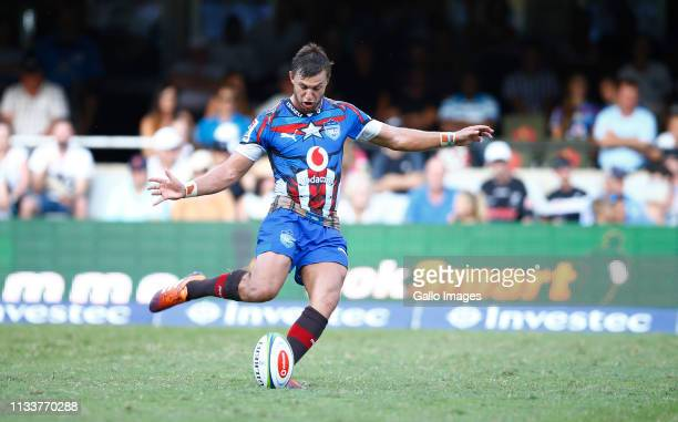 Handre Pollard of the Vodacom Bulls during the Super Rugby match between Cell C Sharks and Vodacom Bulls at Jonsson Kings Park on March 30 2019 in...