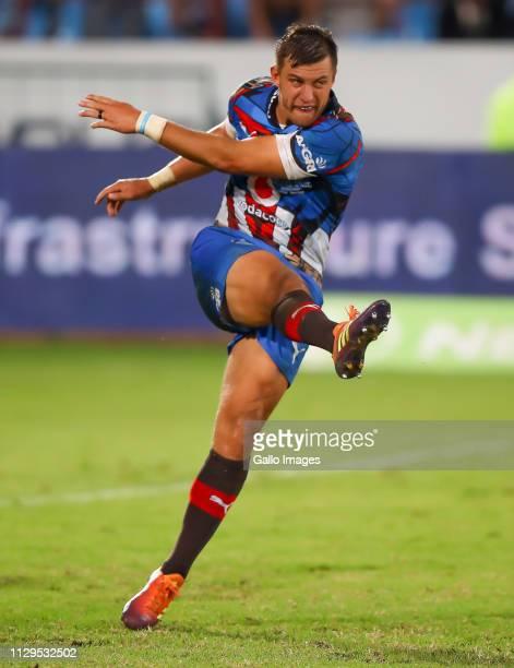 Handre Pollard of the Vodacom Bulls kicks during the Super Rugby match between Vodacom Blue Bulls and Cell C Sharks at Loftus Versfeld on March 09,...