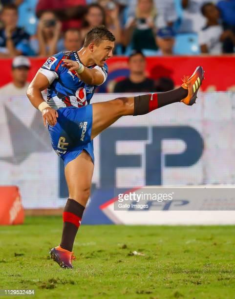 Handre Pollard of the Vodacom Bulls kicks the ball during the Super Rugby match between Vodacom Blue Bulls and Cell C Sharks at Loftus Versfeld on...