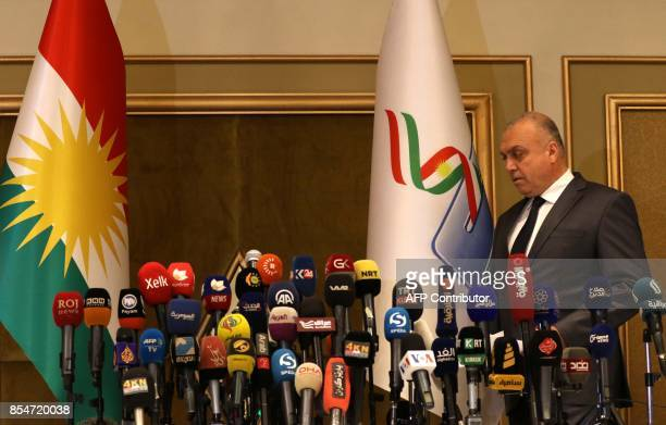 Handreen Mohammed Salih head of the independent high electoral referendum commission arrives for a press conference on September 27 2017 in Arbil the...