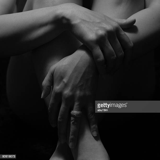 Hands and feet of woman