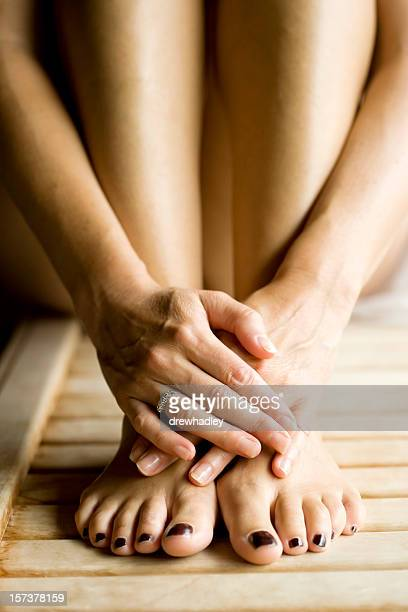 Hands and Feet, woman in sauna.