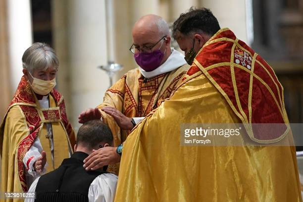 Hands are laid on the Reverend Canon Sam Corley, currently Rector of Leeds as he is consecrated as the Bishop of Stockport at York Minster on July...